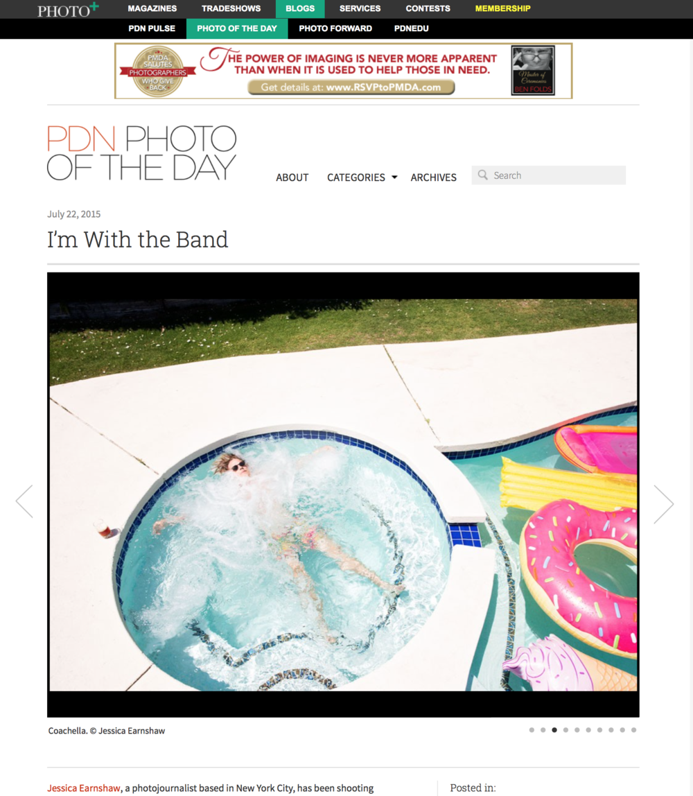 """PDN Magazine (Photo Gallery),  Photo of the Day, """"I'm With The Band"""", July 22, 2015"""