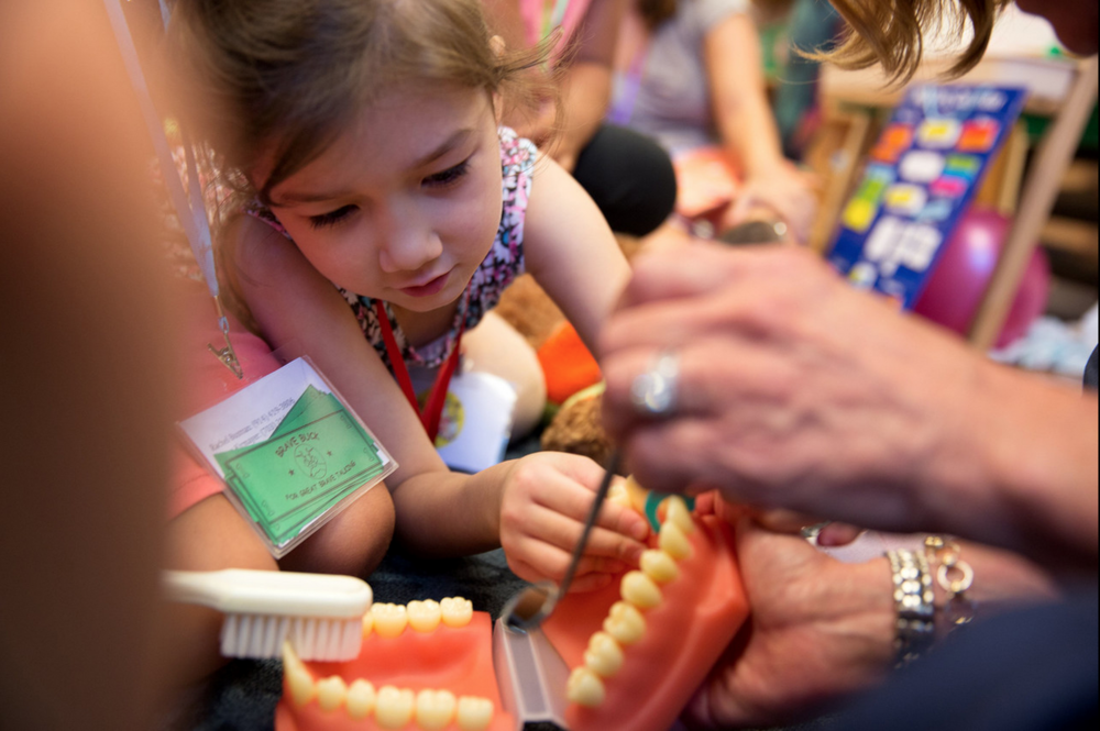 Rachel, 5, flosses a model mouth, part of a dental assistant's presentation about tooth health.