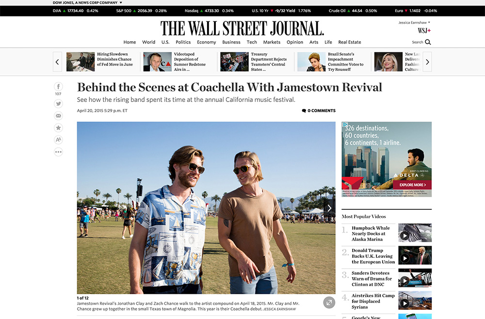 The Wall Street Journal (Photo Gallery),  'Behind the Scenes at Coachella with Jamestown Revival', April 20, 2015