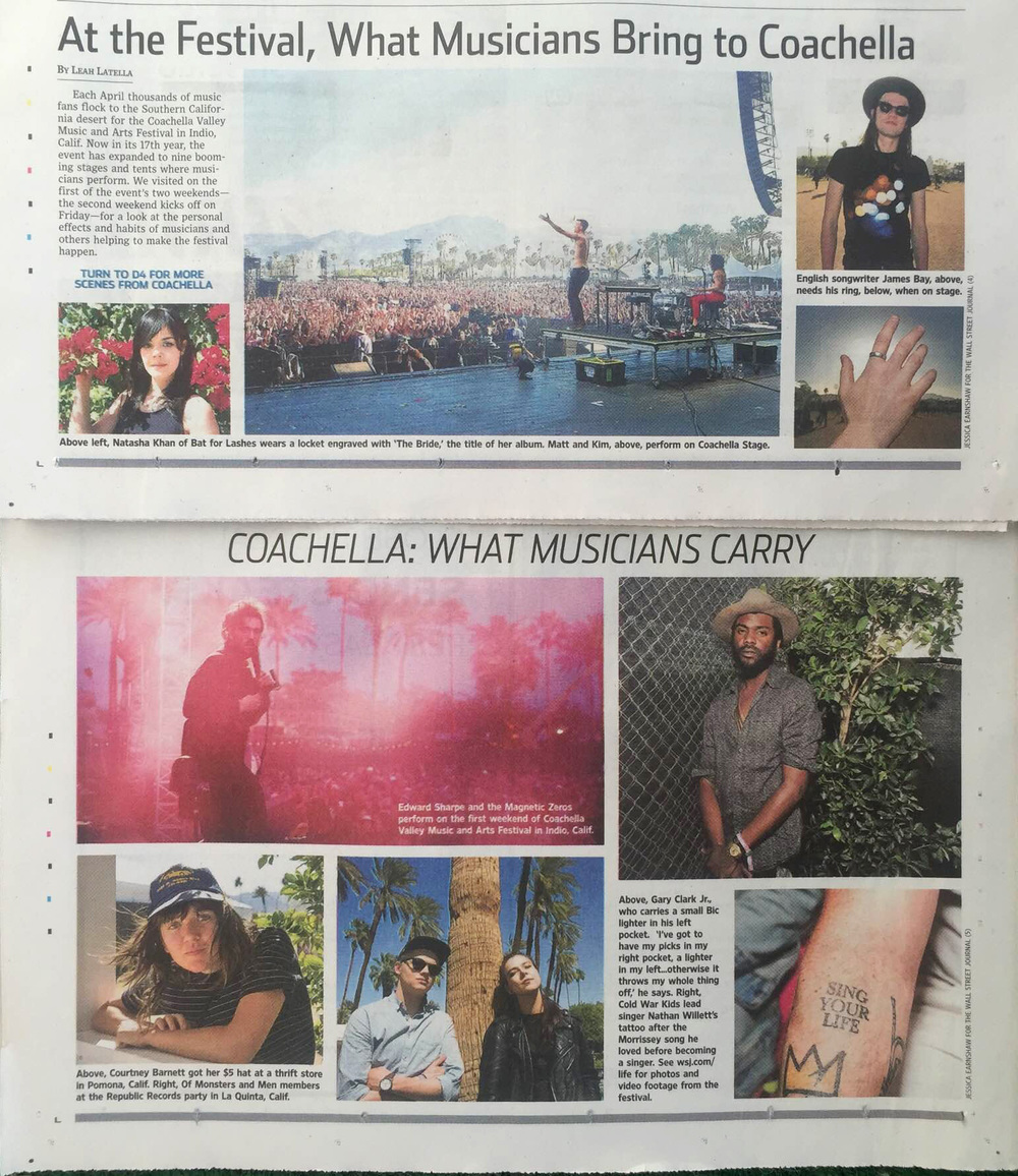 The Wall Street Journal,  What Artists Take To Coachella, PRINT April 24, 2016