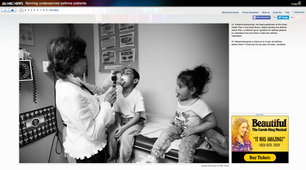 "NBC News (Photo Gallery) & NBC Dateline,  ""Mold, Mice and Zip Codes: Inside The Childhood Asthma Epidemic"", Jan 5, 2014"