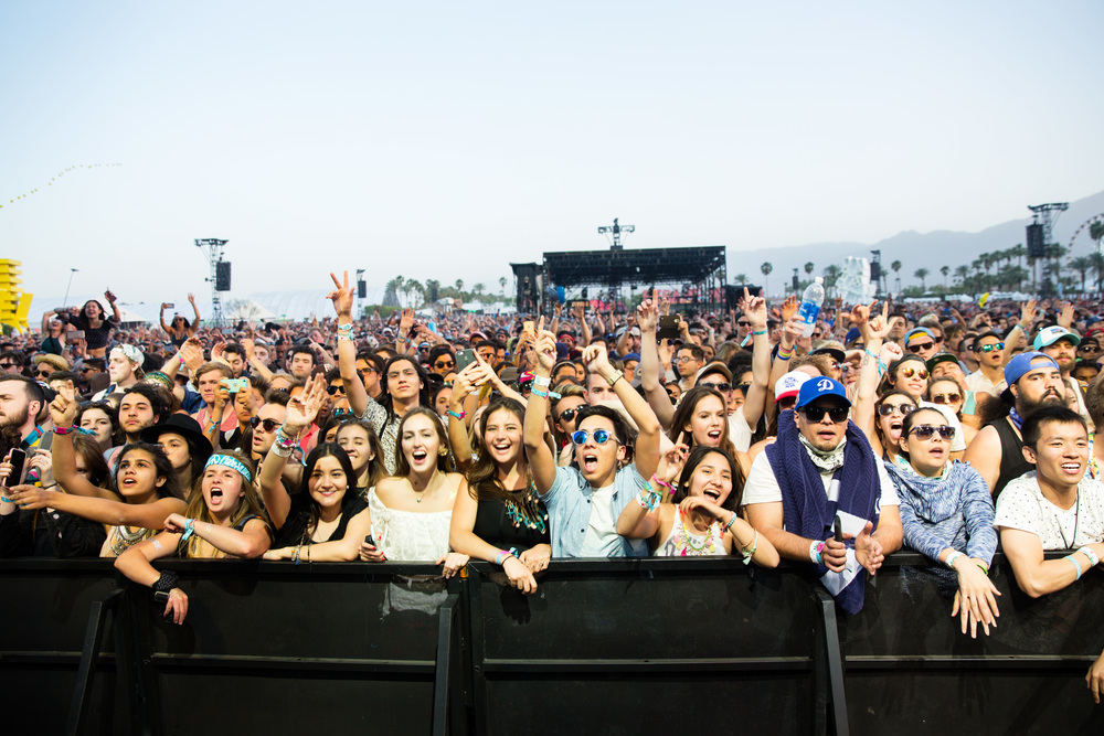 A screaming audience listens to a performance by Of Monsters and Men on the Coachella Stage on the first night of Weekend 1.