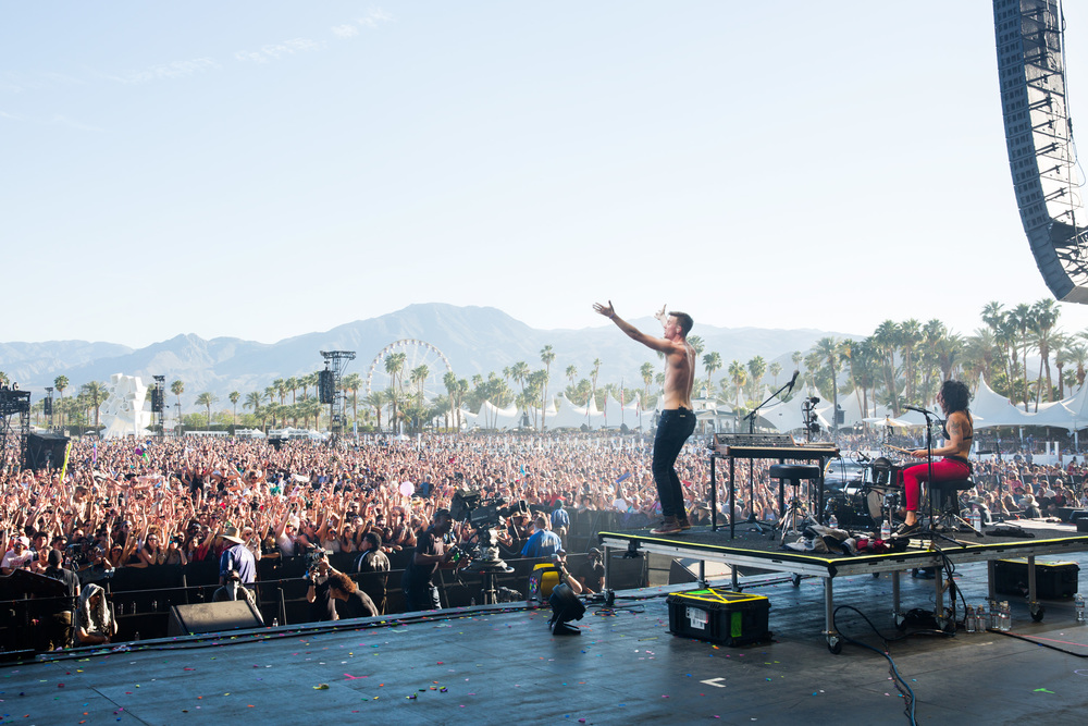 Matt and Kim perform on the Coachella Stage on Sunday.