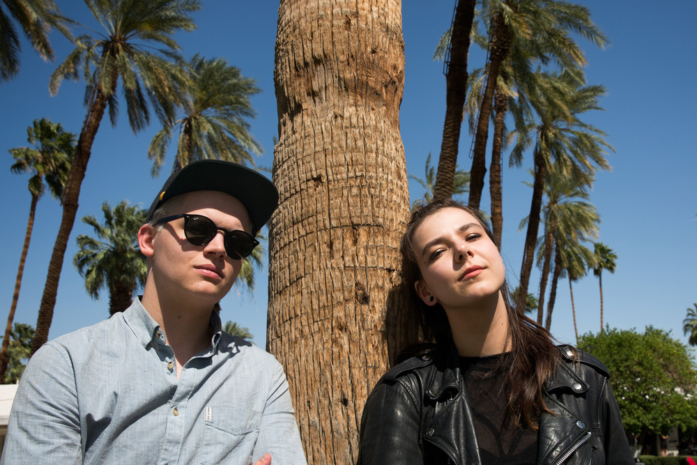 Band members Brynjar Leifsson, left, and Nanna Bryndís Hilmarsdóttir of the Icelandic group Of Monsters and Men take in some sun at the Republic Records Coachella party in La Quinta.