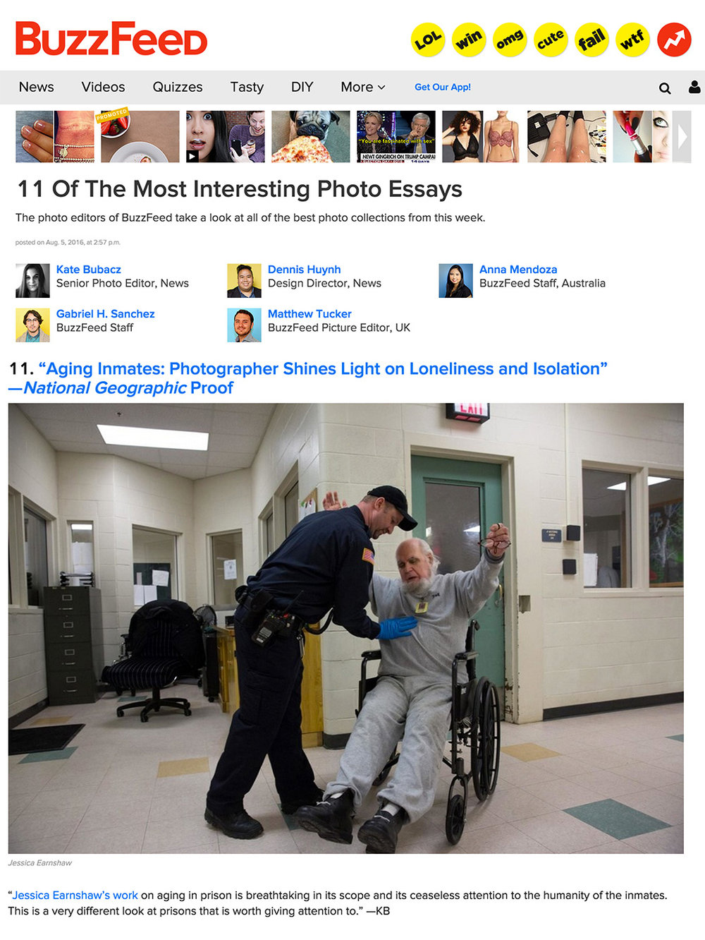 BuzzFeed (USA),  11 Of The Most Interesting Photo Essays, August 5, 2016.