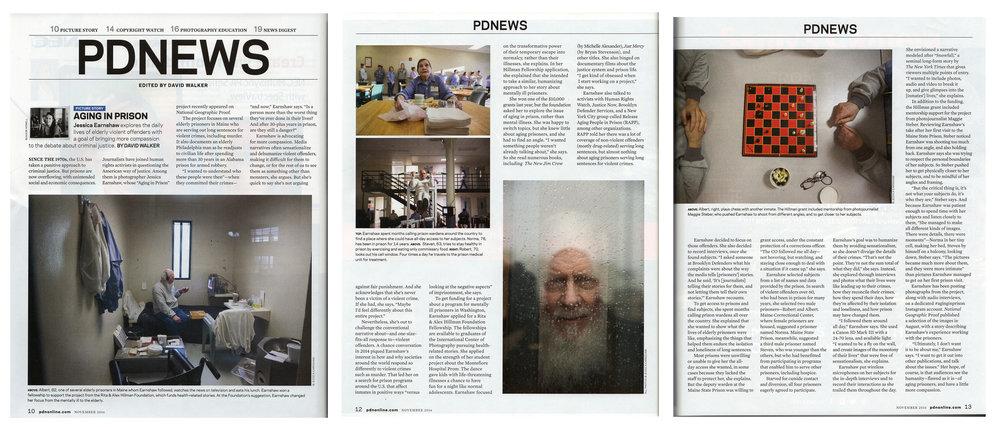 P    DN Magazine (USA),   Jessica Earnshaw Photographs Elderly violent Offenders In Prison,November 1, 2016.