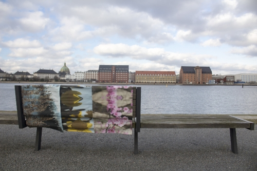 Another type of urban art: Kær table runners in Copenhagen harbor, overlooking the promenade.