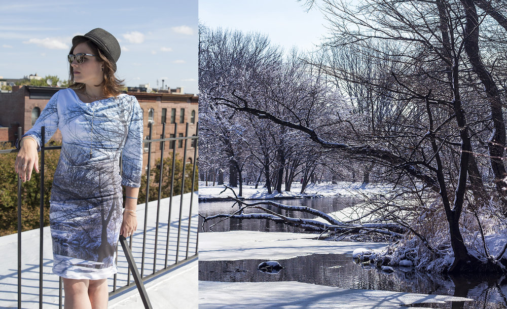 Emily is wearing our  Prospect Park in the snow dress , with the depiction of the beautiful lake across the street from my studio.