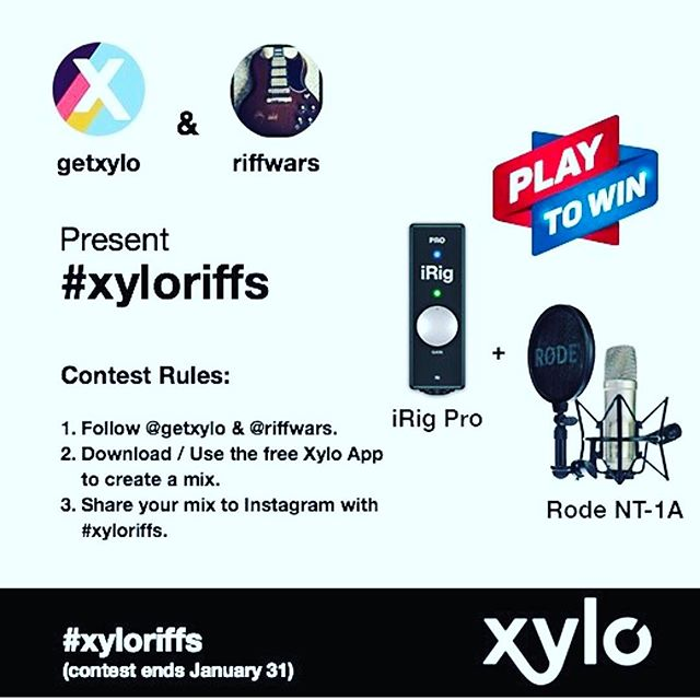 TIME IS RUNNING OUT! The @getxylo giveaway ends soon. Get over to RiffwarsMusic.com and enter today. You can't win, if you don't enter. The rules of this contest are simple but important:___________________________________ 1.) Follow @riffwars and @getxylo_______________________  2.) Download the xylo app (available for iOS and Android) and make a mix_______________________________________  3.) Post and tag your video #xyloriffs ______________________________________________________  The top prize is a new iRig and Rode NT-1A complete recording system! ___________________________________  You're producing mixes and videos anyway, why not download a FREE app that will improve your videos AND win high quality recording gear? 🎤_________________________________________________________ Videos will be judged on creativity and effort!_________________________________________________________ Contest ends January 31st (This contest is international, however international winners are responsible for all fees, taxes, and costs above and beyond shipping associated with prize redemption)  Visit www.riffwarsmusic.com for more information. _______________  #rocknroll  #guitarra  #knowyourtone #hardrock #guitarshred #guitarporn  #guitarlover  #guitarvideo  #indomusicgram #guitarsdaily #lickwars #solosection #pickupjazz #Universityofrock #hypeguitar #guitarists_unite #gitarisina #republikgitar #talentedmusicians #indomusikgram #tcelectronic  #guitarist #gitarisina #guitarsolo  #guitarstrings #guitarman #guitarcover #playguitar #guitarplayer #electricguitar  #guitarsolo