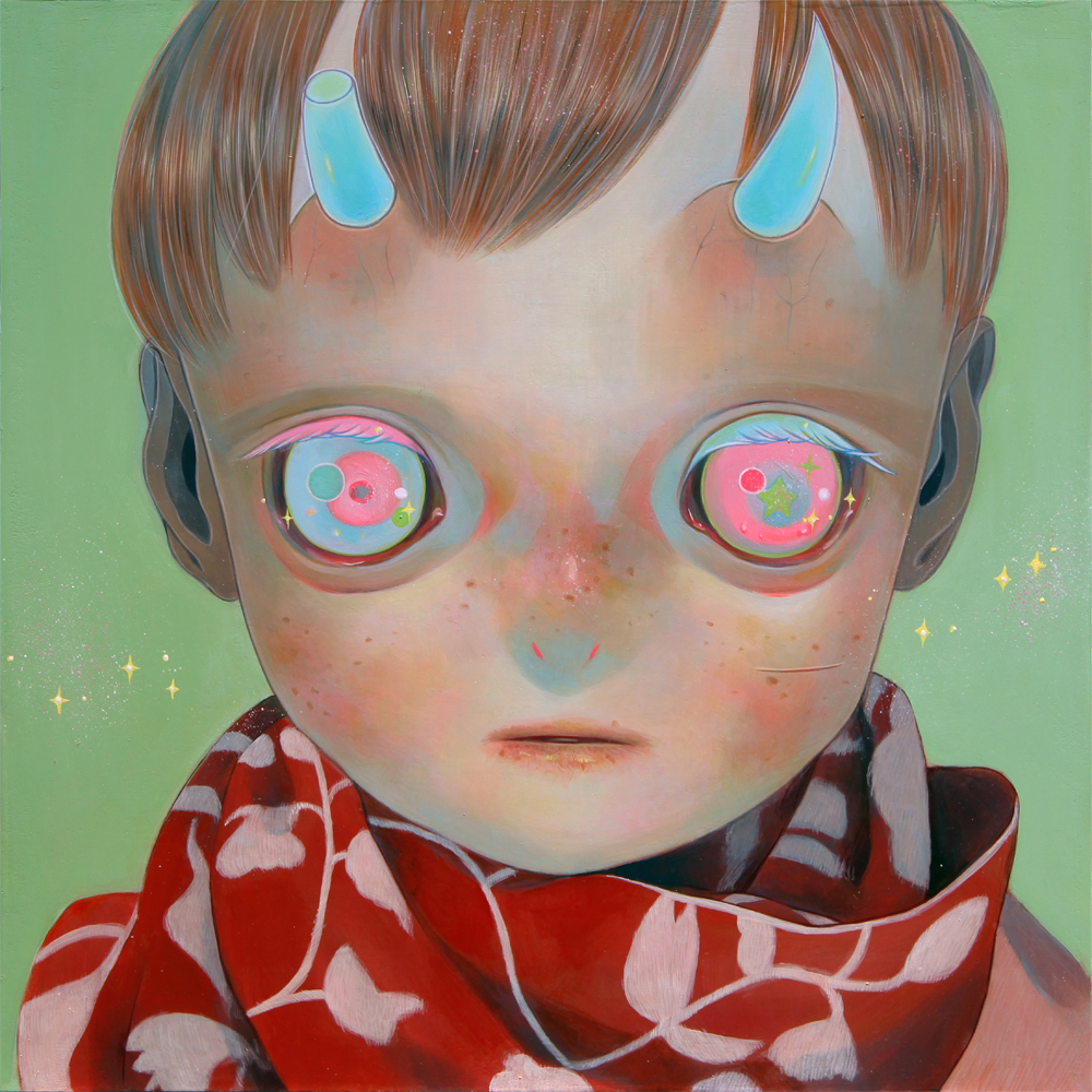 hikari_shimoda_blue_horns_red_scarf_13x13inches_oil_on_cotton_mounted_on_panel_web.jpg