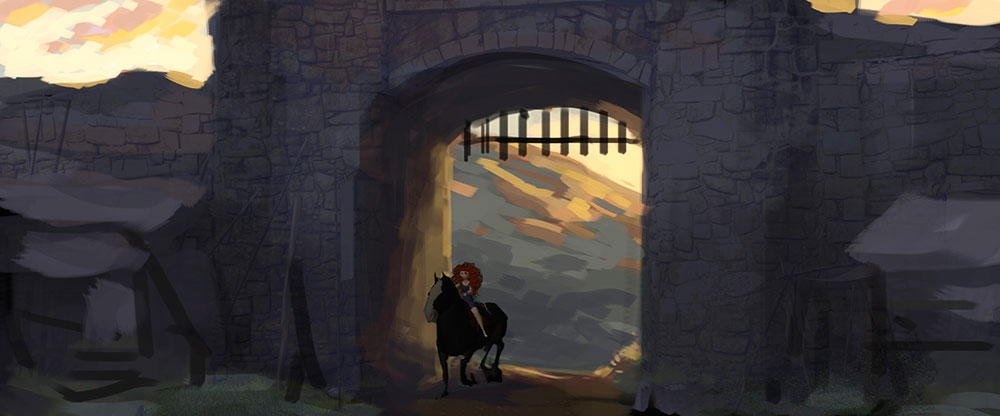 Brave-Concept-Art-Merida-and-Angus-at-the-Gate.jpg