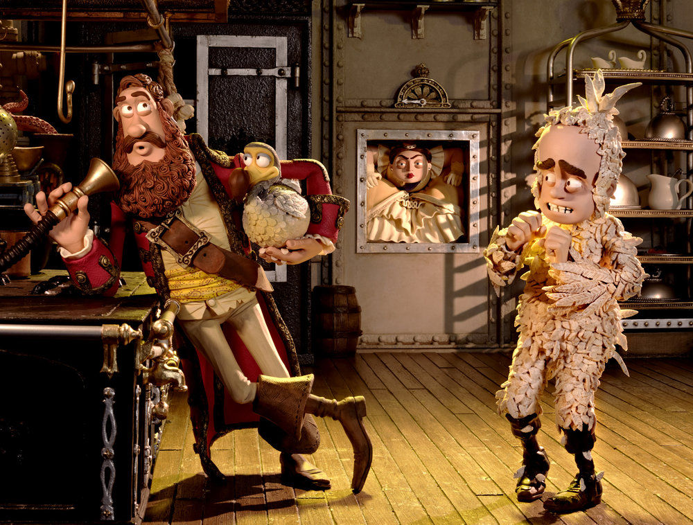 Pirate Captain (voiced by Hugh Grant) and Darwin (voiced by David Tennant) in THE PIRATES! BAND OF MISFITS.