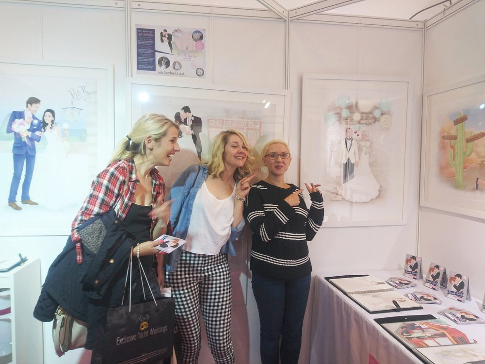 One of my lovely customers, Catherine, standing next to her portrait to show the likeness!