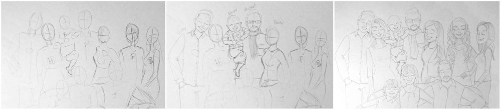 Set of drawings showing my development of composition before adding detail to the final pencil sketch.