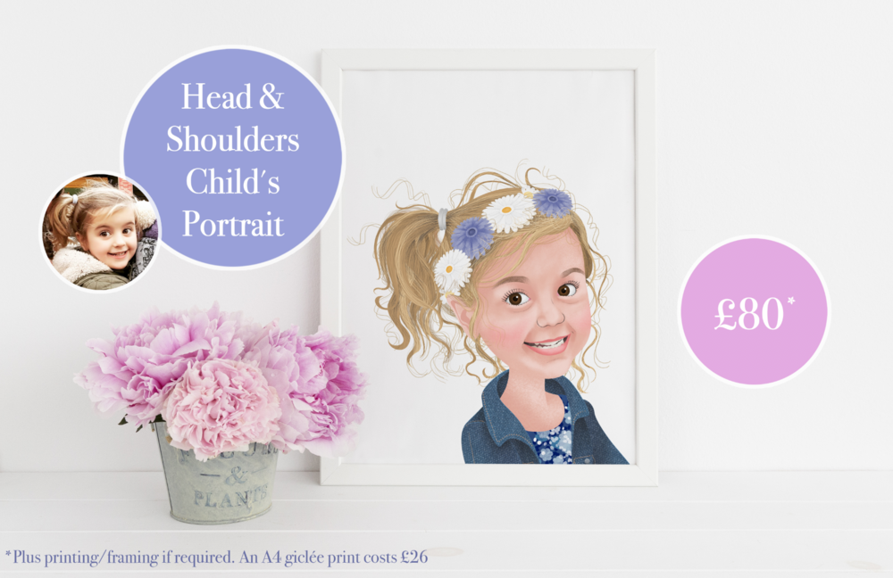 Child's Portraits - from £80 (x1 child illustrated from the shoulders up).