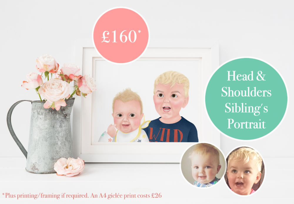 Child's Portraits - £160 ( x2 children  drawn from shoulders up).