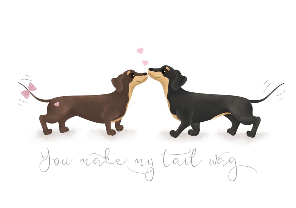 'You make my tail wag' greetings card