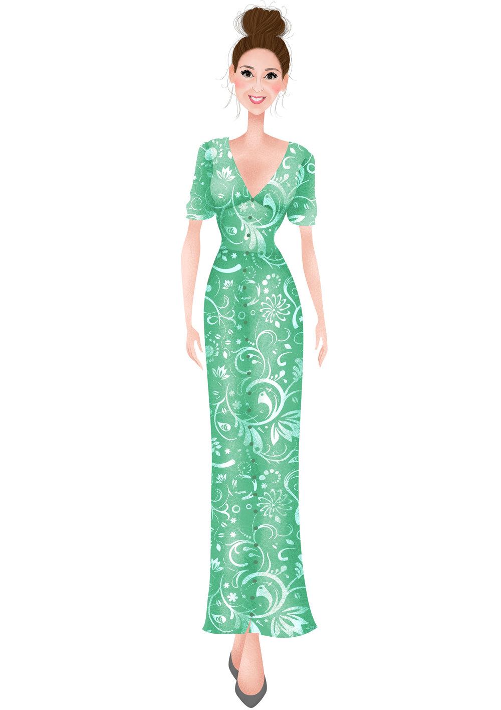 Green Floral, Maxi Tea Dress by ASOS