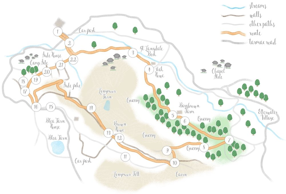 Click on the map to expand. Right click and download, to print and take with you on a walk!