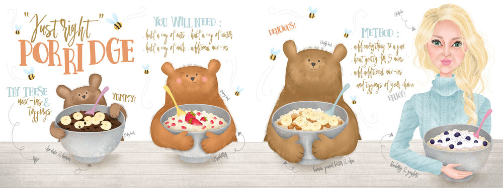 """Just Right"" Porridge  – Goldilocks and The Three Bears inspired."