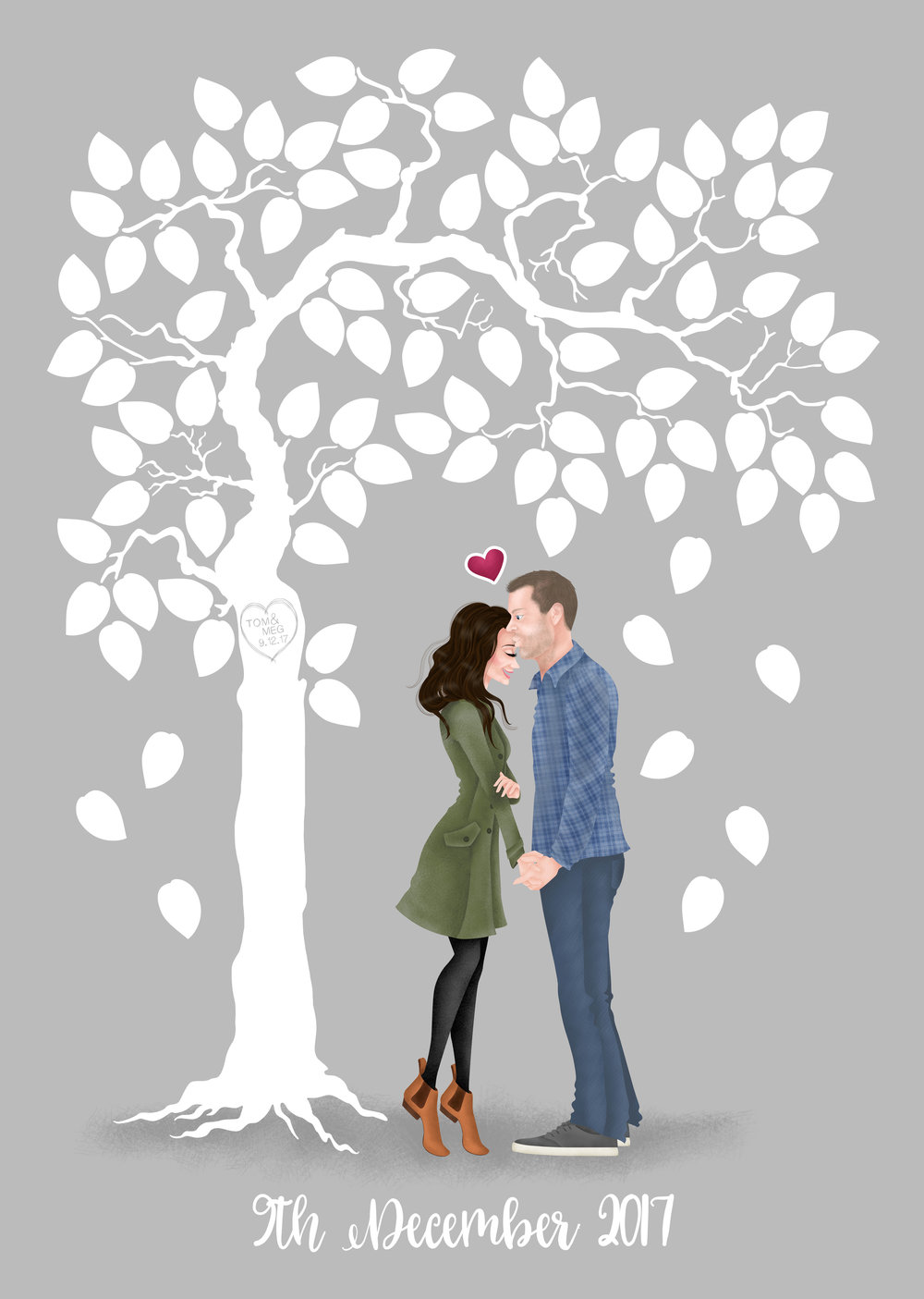 Hannah Weeks Illustration - Tom and Meg Fingerprint Tree - A2 plus 5mm bleed.jpg