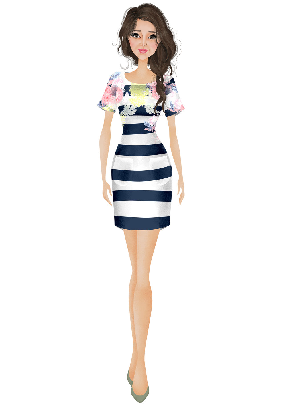 Seren Stripe Whistable Floral Jersey Dress  by Joules