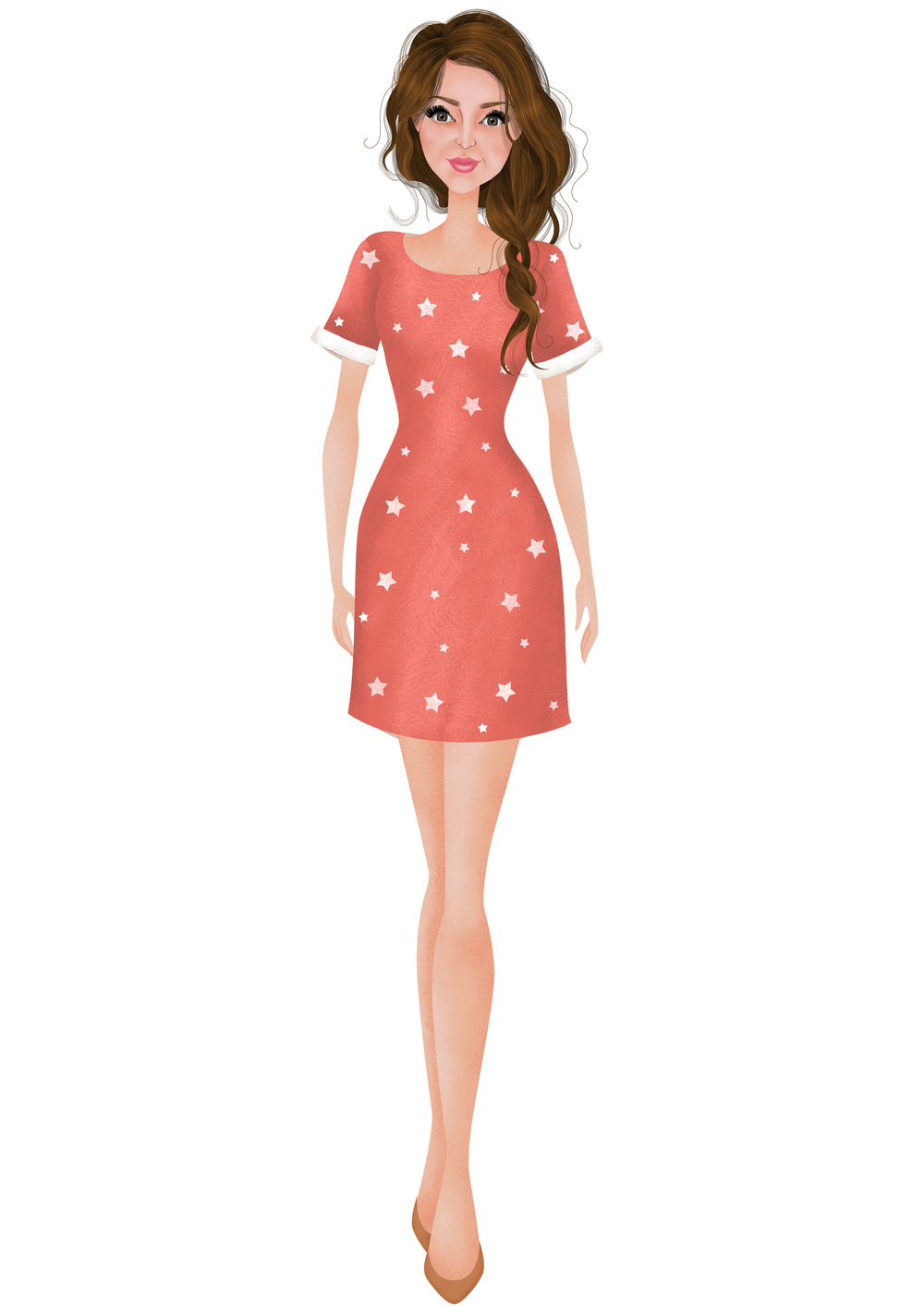 Riviera Printed Red Sky Star Dress  by Joules
