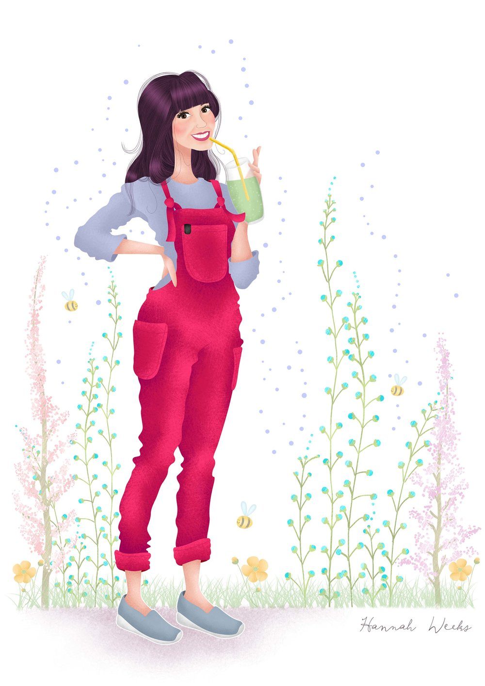 'Luna' dungarees in raspberry - I want and need these very much!