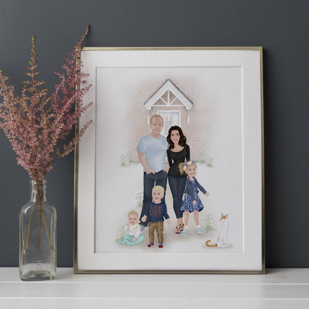 FAMILIES - Group portraits, couples pictures, child illustrations.