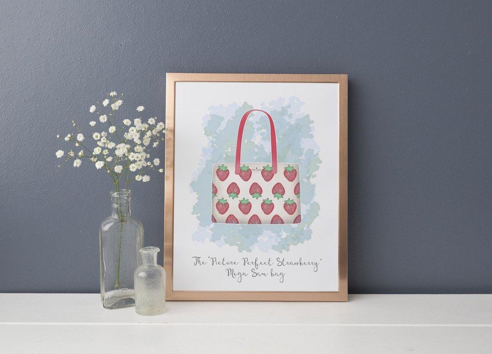 "The "" Picture Perfect,Strawberry, Canvas Mega Sam "" bag in multi print."