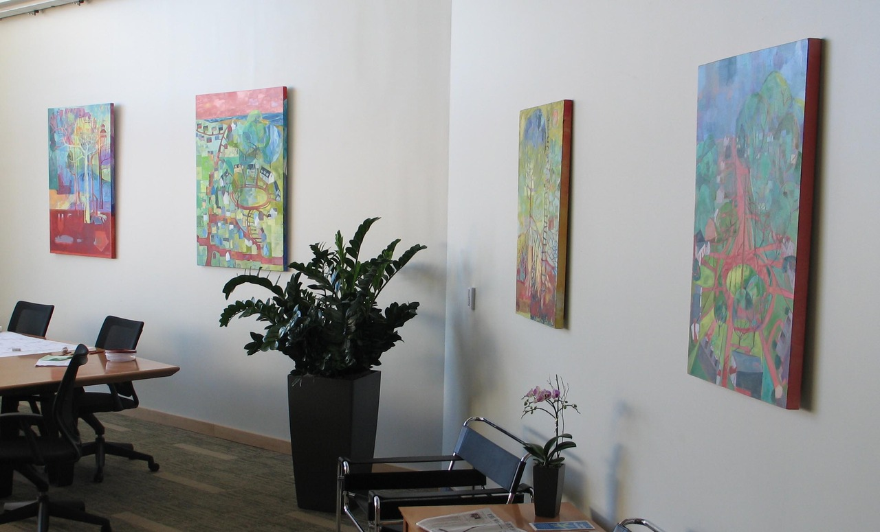 "John just sent this photo to me.  He brought four of my paintings to Arrowstreet this morning (on loan).  #in. The two on the left side of the photo are 36"" x 48"" but here they look so small!  In my livingroom they looked HUGE."