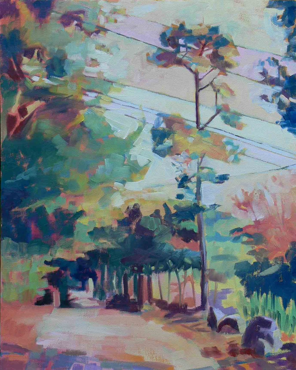 """As You Strode Deeper and Deeper Into the World    Along with the roots, branches and shadows, I'm enjoying the connections created by the powerlines. The trees in the distance are something I've been thinking about since my ice-sliding image from High Rock Woods.    16"""" x 20"""", oil on canvas,   please inquire for prices"""