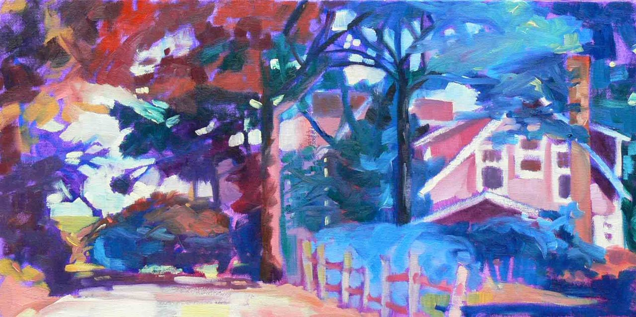 "Cottage On Winslow Landing 2, Brewster, MA     It's just nestled in there isn't it?  The house beside this one was taken down to be rebuilt.  That is what allowed such a great view of this house and the tree sheltered path to the beach.  We looked at this view everyday.    10"" x 20"" oil on canvas,   please inquire for prices"