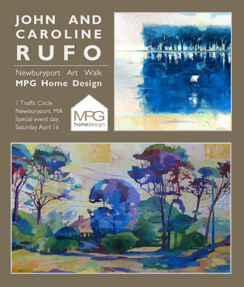"Caroline and John are both showing work at MPG Home Designs in Newburyport Mass.  Newburyport does a terrific ""Art Walk"", and Saturday April 16th there will be special events at several of the galleries.  For more information about the Art Walk or MPG Home Designs, check out these sites:    www.newburportartwalk.com     http://mpghomedesign.com/"