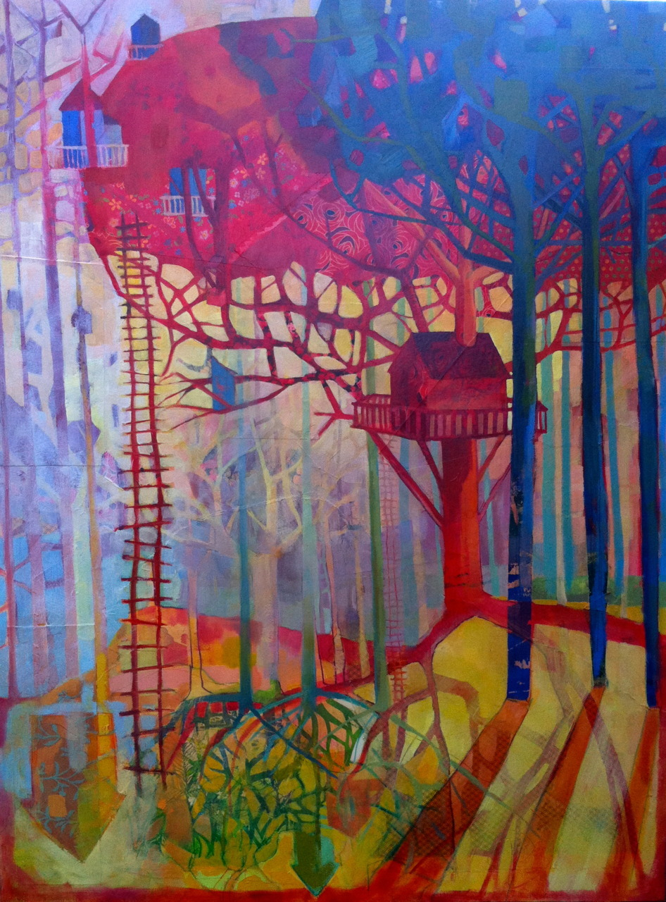 "30"" x 40"", mixed media and oil on canvas.   What is it about the webs and tendrils that I find so compelling?  Ladders, capillaries, power lines, roots and shadows all reach out to connect things.  Nestled in that complex environment ideas get snagged.  Houses are tucked.  Positive and negative spaces reverse."