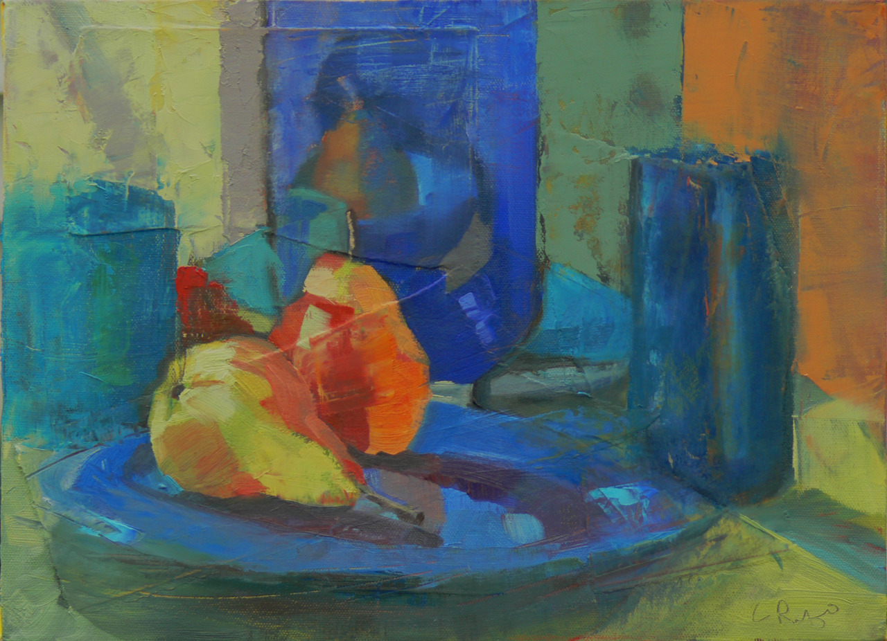 """12"""" x 16"""" oil on canvas   In my classes, we've been working on differentiating colors within a hue. To do this, I set up a primarily blue still-life, and added some pears. This is my """"sample"""". To see the student work, check out  my website  and look under """"classwork""""."""