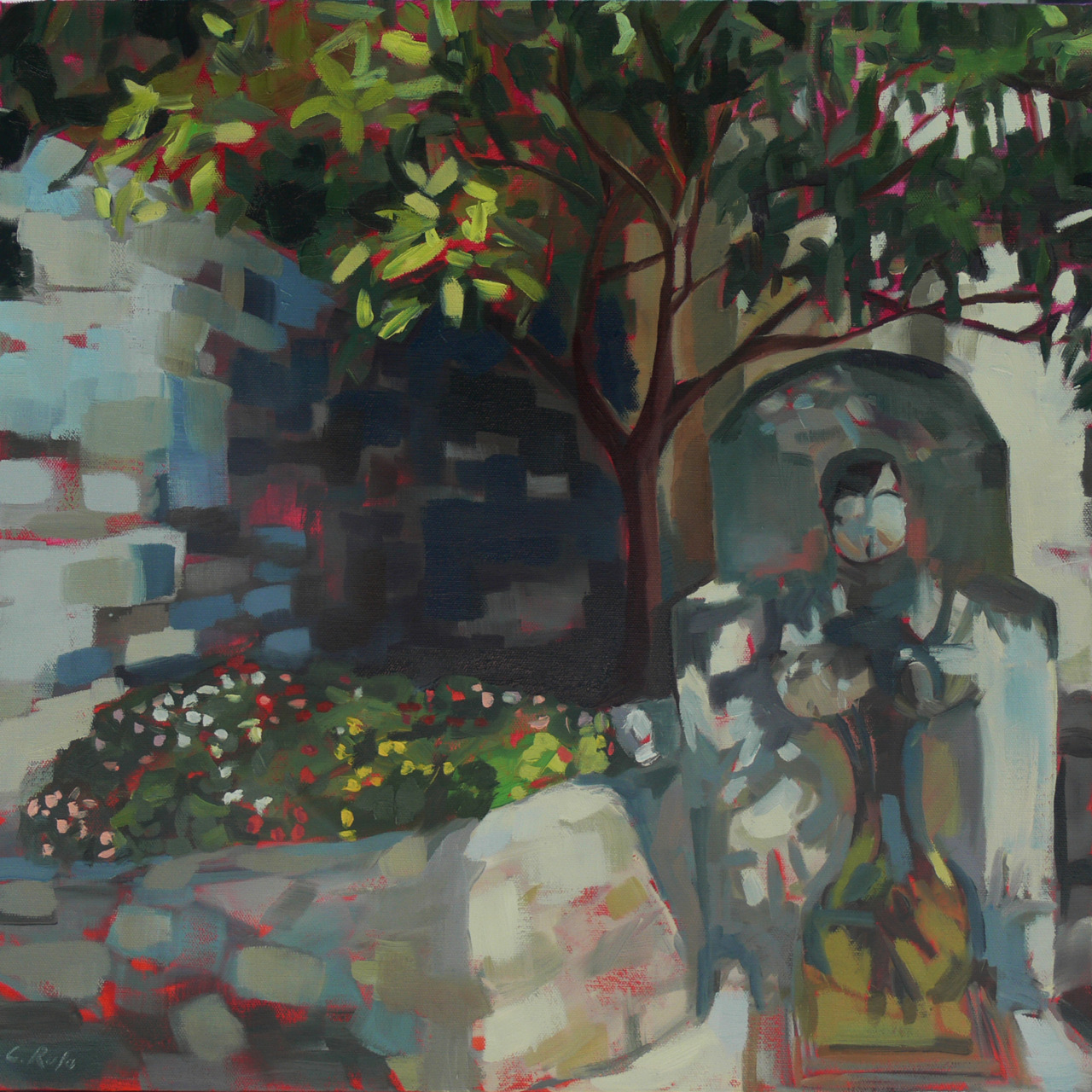 "Fountain - Eze, France   20"" x 20"", oil on canvas   This is the second of the two commissioned pieces.  It was a fun challenge to take someone else's memory of a special place and run it through the ""filter"" of what I like to do to line, light, color and composition.  It is a delicate tightrope balance, but one I'd love to do more often."