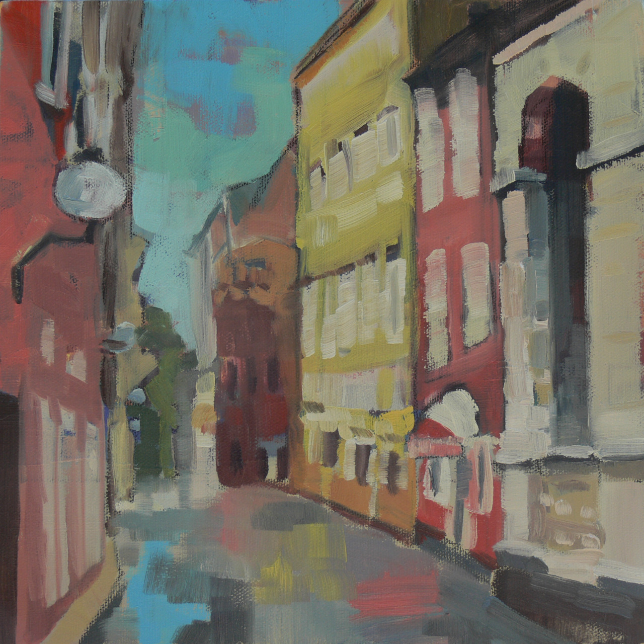 "Croatia Street   10"" x 10"", oil on canvas   Working on someone else's memories of Europe made me want to go back to my own.  This is a street in Zadar Croatia.  We were there several years ago when my sister and her family were living there.  I've just finished a larger painting from this same image."