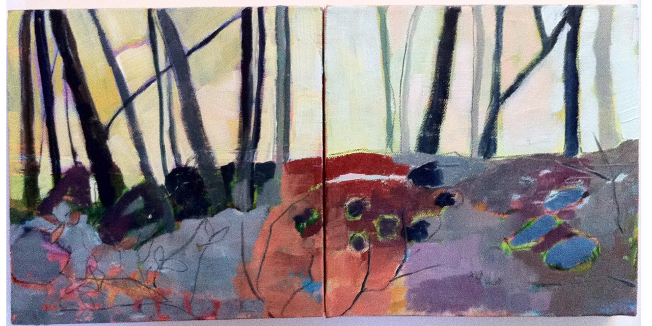 """""""Autumn Diptych 1"""" 8"""" x 16"""", oil on canvas.   Is it just me, or does the word Diptych make you sing the word to the tune of """"Slit Skirts"""" by Pete Townsend? Must just be my Who-loving husband's influence. This is a new series for me. A couple more posts to come. I think they could work as singular paintings as well, but I'm painting them in pairs."""