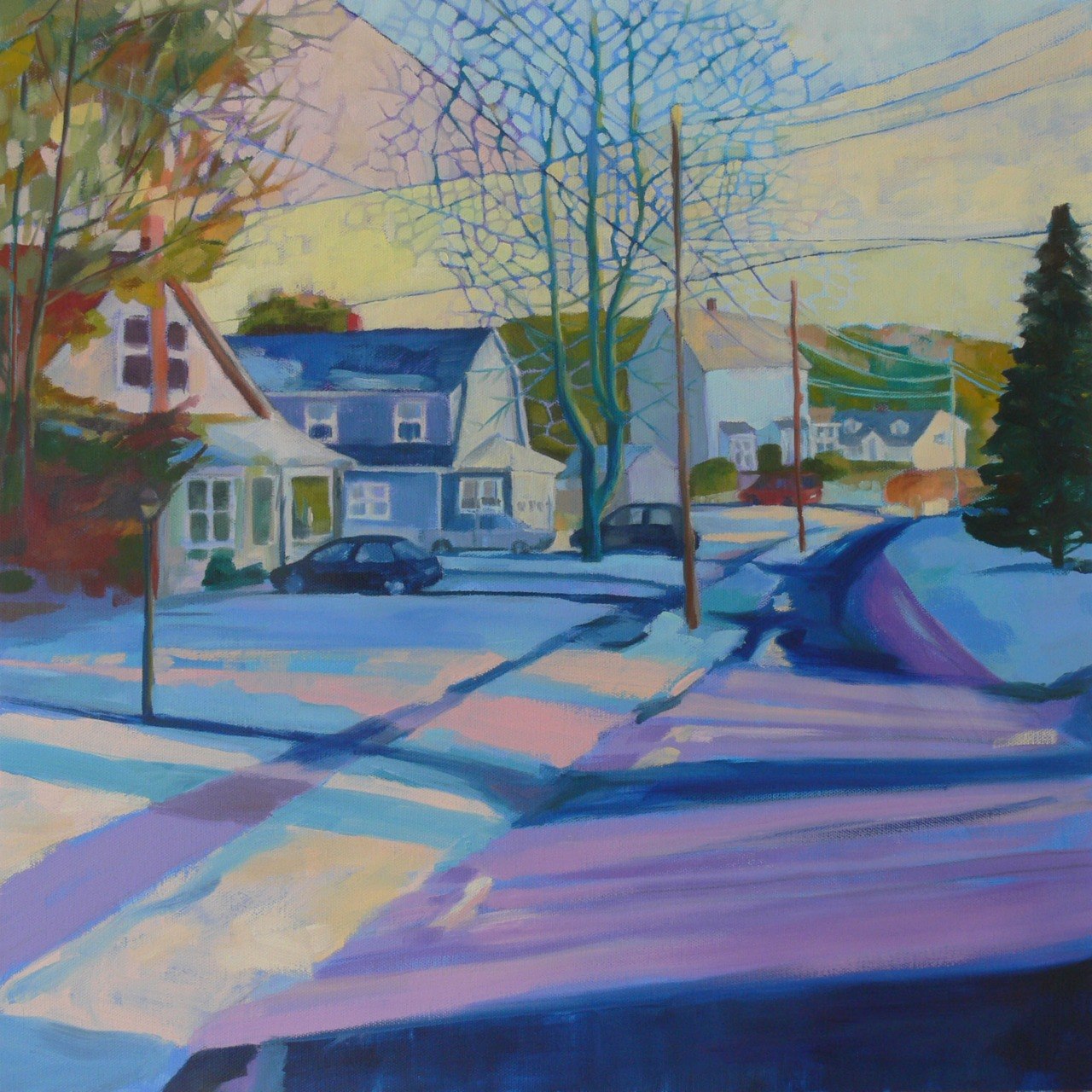 "24""x24"", oil on canvas   This is me trying to be inspired by the snow.  Actually, it's the power lines and the streaks of light that really got me going.  And of course the trees.  Always the trees."
