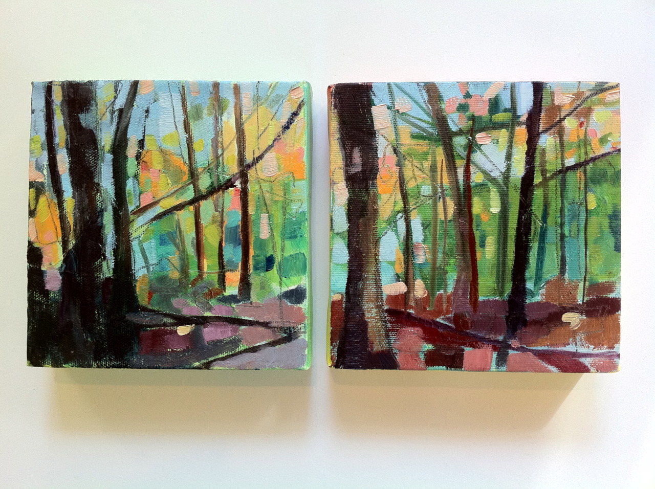 """Last of the Diptychs. This one is a bit smaller 6"""" x 12"""", oil on canvas. Even more than the others I think this could be either a diptych or 2 singular paintings. John and I took a walk in the Town Forest this morning and I got more photos of light between the trees. The shadows are so long this time of year - makes for lovely light."""