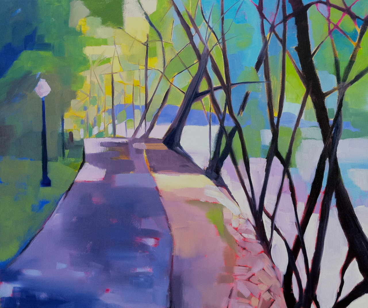 """Jamaica Pond, Boston MA   20"""" x 24"""" oil on canvas   Still playing around with the simplified branches and lines. Still working with trees and paths. And still having a ball working with this new palette."""