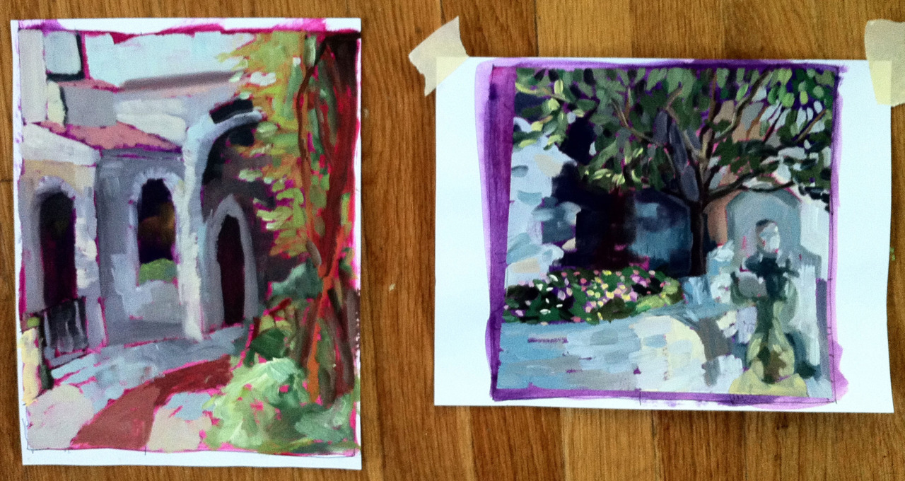 These are the sketches I did for those last two paintings.  They're on letter-size card stock.  The under-painting is acrylic (the magenta and reds) and the rest is in oils.