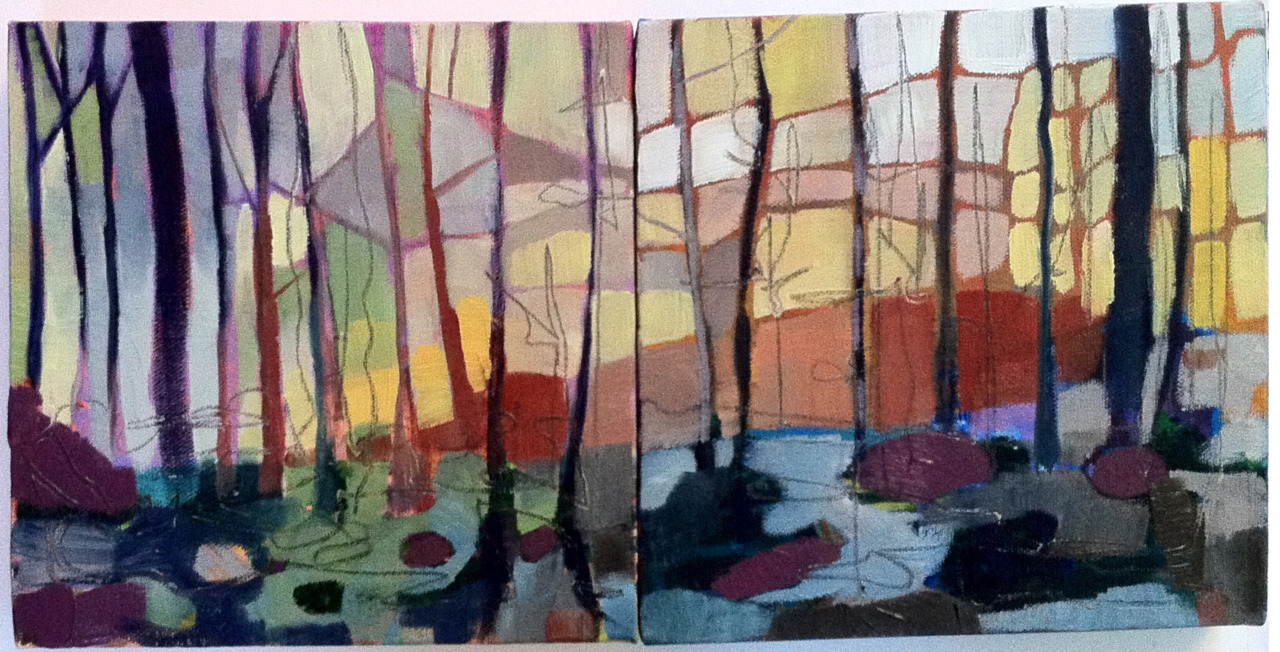 "Autumn Diptych 2, 8"" x 16"", oil on canvas. I'm doing these for the RISD Holiday Sale which is Saturday December 3 in Providence.  More information to come"