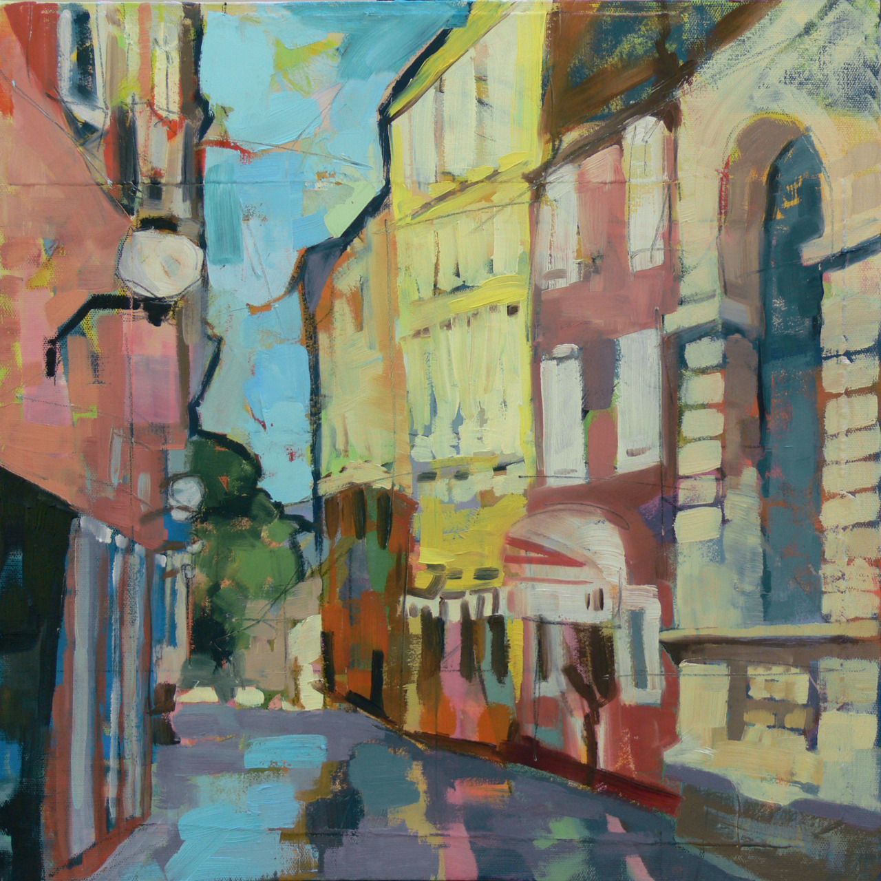 "18"" x 18"" oil on canvas   After the rain, a street in Zadar.  The sun has just peeked back out and hit those two buildings in the back.  Don't you just want to duck under that red awning and grab an espresso?  Walk the city for a day?"