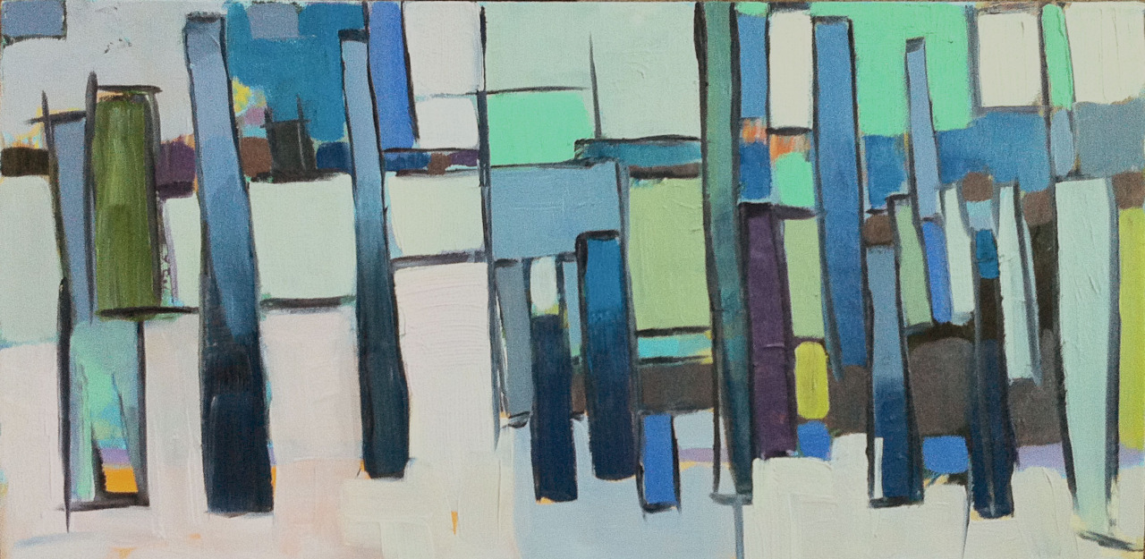 """Provincetown Pier #1 10"""" x 20"""" oil on canvas   I was in Provincetown both this summer and for a day in the fall. There is an old rotting pier behind the shops, just lovely. It allowed me to just have fun with brush strokes and color. Might have to do more of these."""