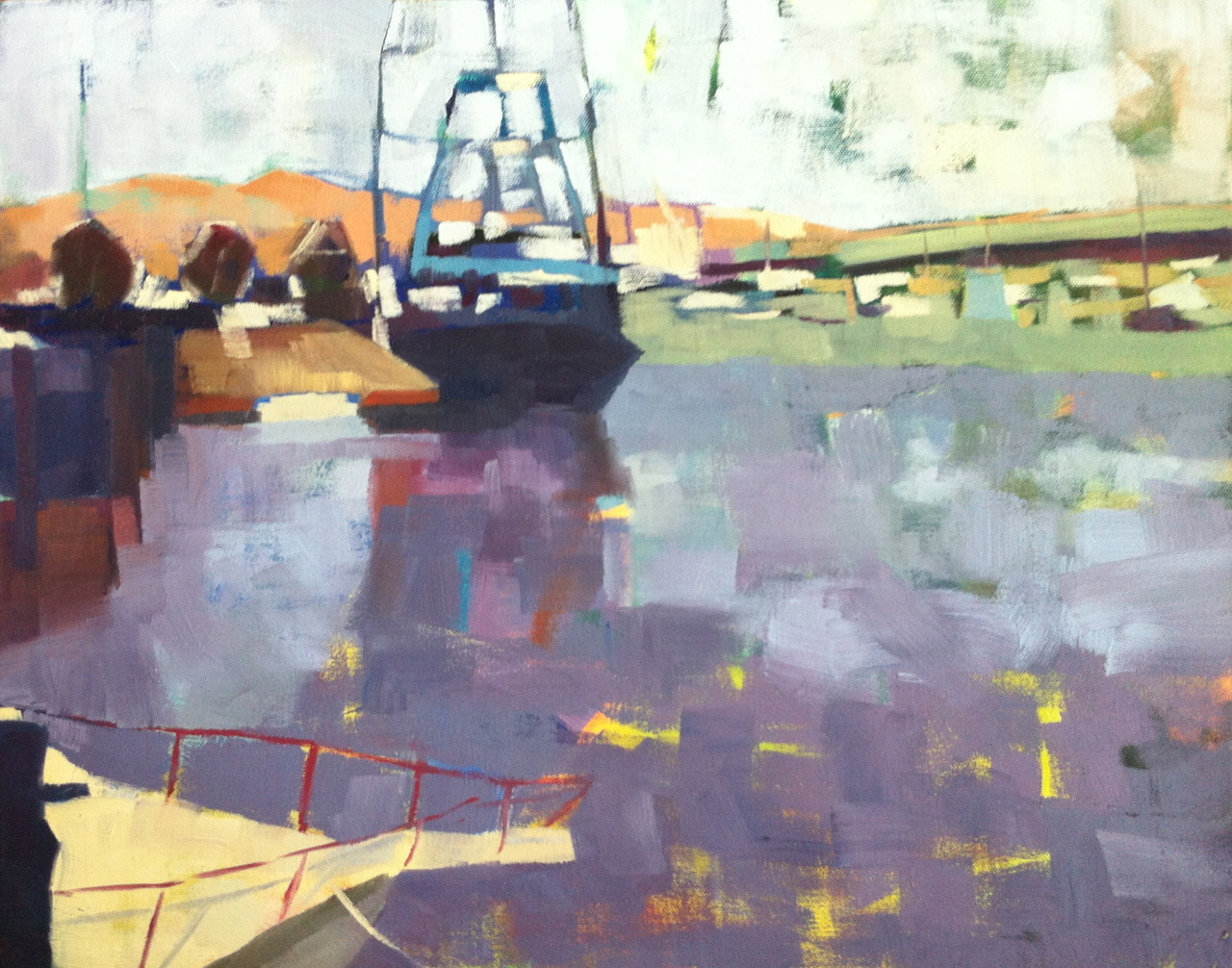 """Newburyport Harbor 16"""" x 20"""" oil on canvas.   Just dropped this off at MPG Home Design in Newburyport, MA. We spent a terrific day on the North Shore on Sunday. It is just so darned pretty on the New England coast this time of year."""