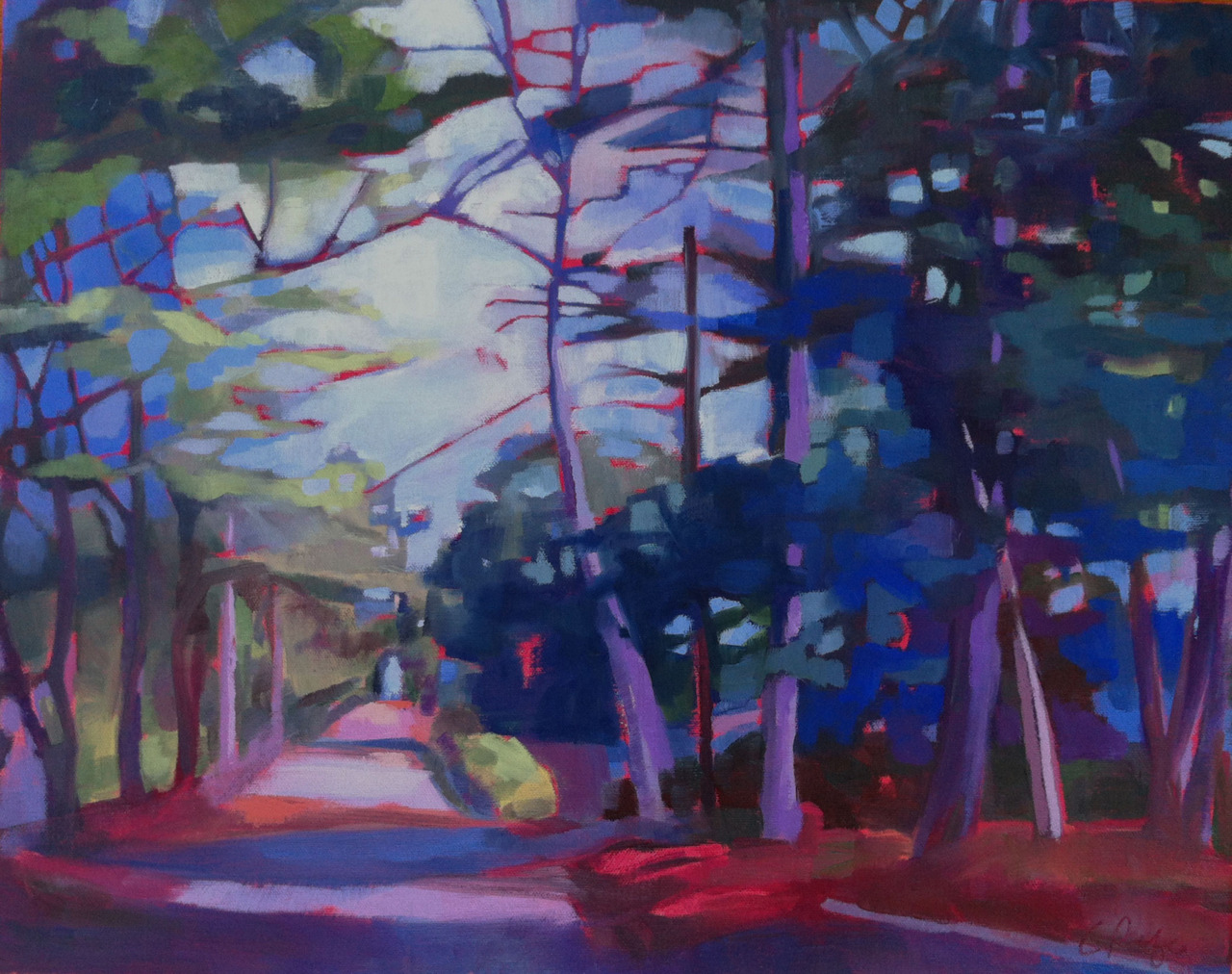 """Hot Path, Cool Night""  16"" x 20"" oil on canvas   March feels like August this year, reminding me of the heat that comes up off the road even as the sun goes down and the shade gets a bit cooler."