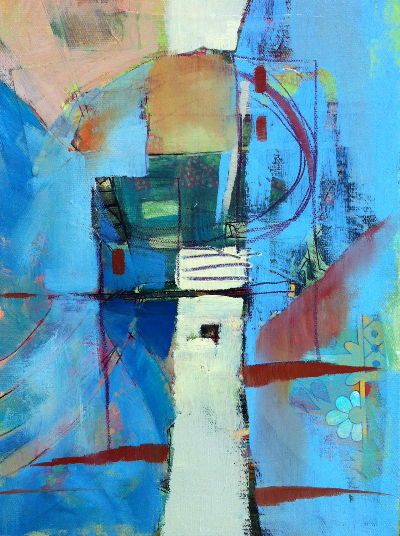 "The Tower  9"" x 12""  mixed media on canvas.  This one is in Florida at the  Bowersock Gallery ."