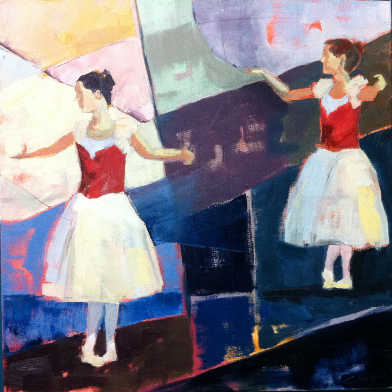 "Dancers  18""x18""  oil on canvas.   You can see this one hanging at Needham Dance Theatre.  I did it early this fall, but never got around to posting it."